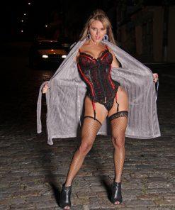 corselet princesa em renda e cetim Aline Lingerie
