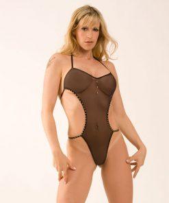 Body Brilhante de Tule Transparente Aline Lingerie